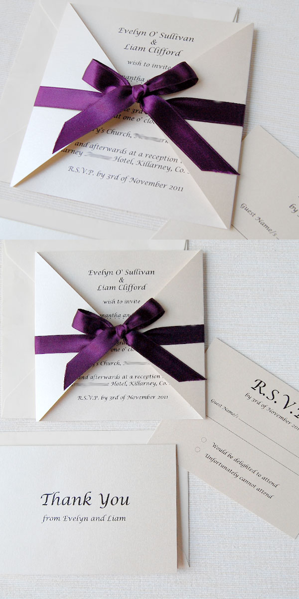 The Wedding Stationery Was Completed With Shimmering Postcard Response Cards And Ivory Thank You Back