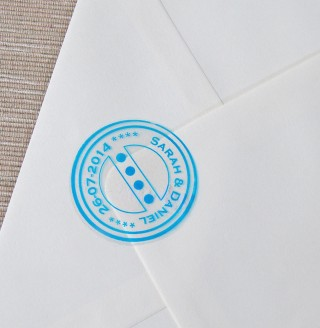Large Clear Blue Stamp Envelope Seals