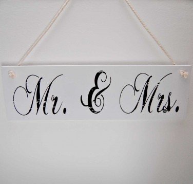 Mr. and Mrs. Wooden Hanging Sign