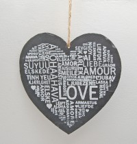 Slate Hanging Love Heart Sign