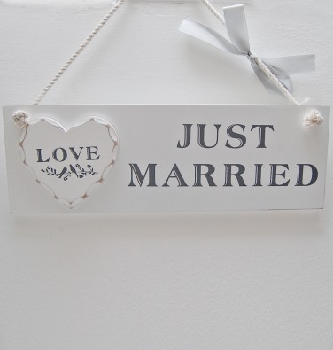Just Married White Wooden Sign