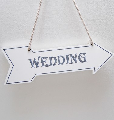 White Wedding Arrow Sign