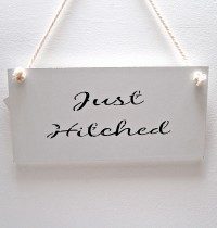 Just Hitched White Wooden Sign