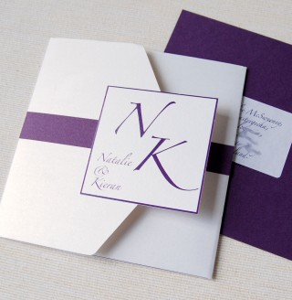Purple And White Pocket Fold Wedding Invitation